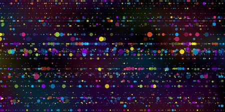 Big data visualization. An abstract data stream of stripes of multicolored round particle on dark background. Science, technology theme. Vector illustration. 矢量图像