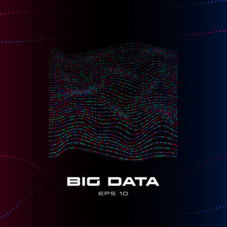 Big data visualization. Distortion stream of particles. Wave stripes of multicolored data units on dark background. Science, technology theme. Vector illustration. Eps 10.