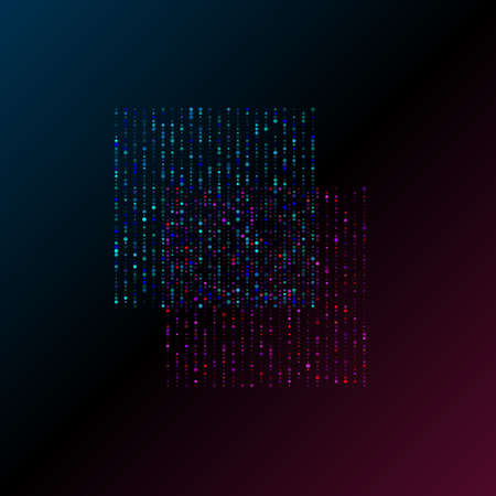 Big data visualization. Two squares blue and pink of vertical stripes of data units. Science, technology concept. Vector illustration. Eps 10. 矢量图像