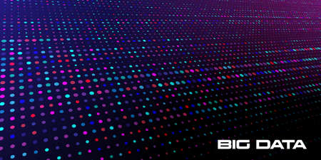 Big data visualization. Abstract background of a large number of multicolored and random size data units on a dark background with depth of field DOF. Science, technology theme. Vector illustration.