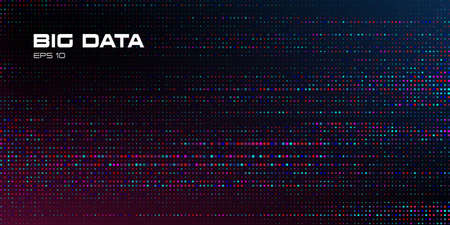 Big data visualization. Abstract data background of a large number of multicolored and random size particles on a black background. Science, technology theme. Vector illustration. Eps 10. 矢量图像