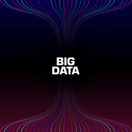 Big data visualization. Wavy strems of data units. Analysis process. Flow of information . Science, technology background. Vector illustration. Eps 10.