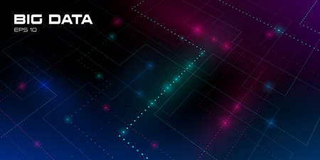 Big data visualization. Futuristic background with tracks of glowing data units. Streams of multicolored particles. Depth of field DOF. Concept of science and technology. Vector illustration. Eps 10 Standard-Bild - 155040743