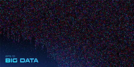 Big data visualization. Data stream crumbling down. Abstract background of a large number of multicolored particles on a black background with copy space. Science, technology theme. Vector illustration. Standard-Bild - 155979667