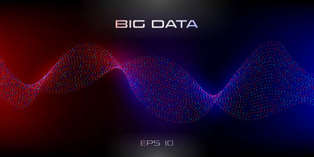 Big data visualization. Wavy stream of particles. Wavy stripes of data units. Dark background with red and blue glowing on the sides. Science, technology, education concept. Vector illustration. Illustration