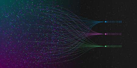 Big data visualization. Illustration of information sorting process. Analusis of big data. Science, technology theme. Vector illustration. Eps 10 Standard-Bild - 155122806