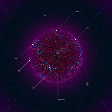 Big data visualization. Glow sphere with waving surface consist of particles. Callout elements. Science, technology theme. Vector illustration. Eps 10.