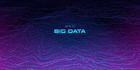 Big data visualization. 3D wave points blue and pink background. Cyber technology. Science, technology theme. Music abstract wavy equalizer. Vector illustration. Eps 10