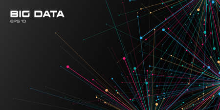 Big data visualization. Abstract background with a points and connections on black backdrop. Science, technology concept. Vector illustration. Eps 10. Illustration