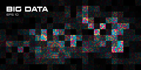 Big data visualization. Abstract background of rectangle multicolored parts with copy space.Futuristic, science, technology theme. Vector illustration. 일러스트