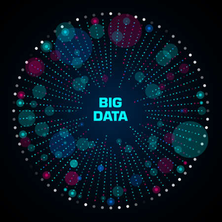 Big data visualization. Circular infographic with copy space in center. Radial cluster of blue and red points. Design for business, science, technology. Vector illustration. Illustration