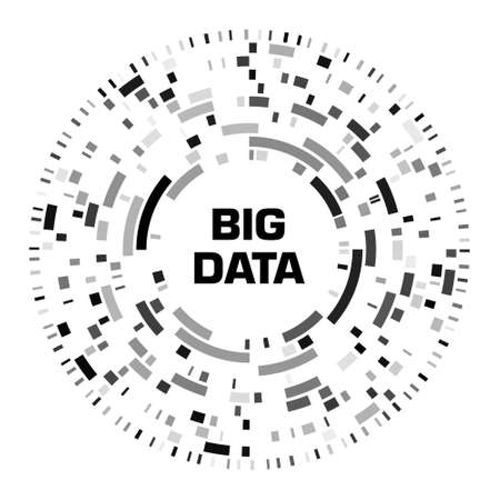Big data visualization. Black futuristic circular diagram with copy space in the center. A radial cluster of segments. Design for business, science, technology. Vector illustration. 일러스트
