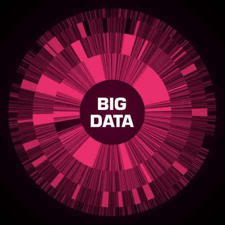 Big data visualization. Red futuristic circular diagram with copy space in the center. A radial cluster of segments. Design for business, science, technology. Vector illustration.