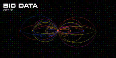 Big data. Visualization of algorithms with arc line connections. Design for business, science, technology. Connection Structure. Techno dark background. Vector illustration.