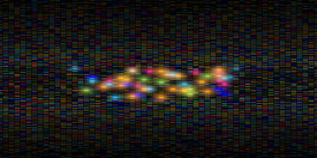 Big data visualization. Abstract data background of a large number of multicolored particles and some of them are glowing. Science, technology theme. Vector illustration.