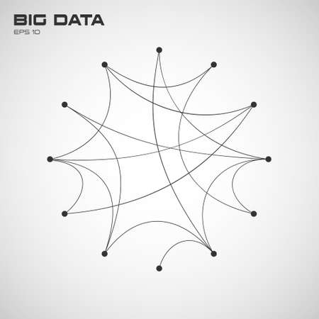 Big data. Visualization of algorithms with arc lines connection and points. Design for business, science, technology. Connection Structure on white background. Vector illustration. 일러스트