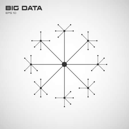 Big data visualization of connection structure with lines and points. Design for business, science, technology. Vector illustration.
