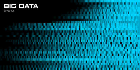 Big data visualization. Blue abstract data background of a large number bits of information with copy space. Science, technology theme. Vector illustration.