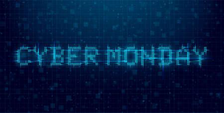 Cyber Monday futuristic cyberpunk glitch banner. Blue glowing digital cyber Monday inscription. 8 bit title. Design for a promo event. Vector illustration