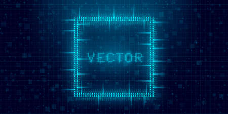 Futuristic cyberpunk glitch rectangle. Blue glowing digital square. 8 bit quadrate. Background design for promo electronic music events and game titles. Vector illustration Standard-Bild - 157517195