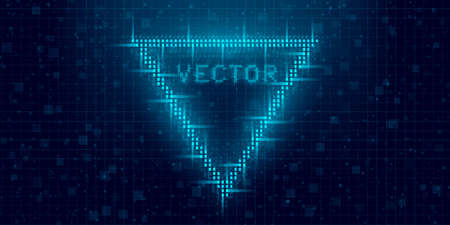 Futuristic cyberpunk glitch triangle. Blue glowing digital 8 bit triangle. Background design for promo electronic music events and game titles. Vector illustration Illustration