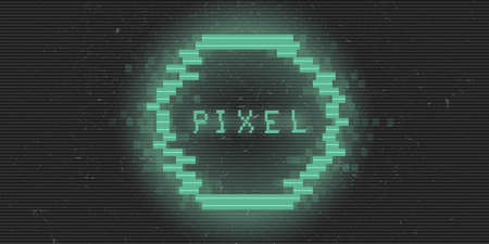 Retrofuturistic cyberpunk glitch pixel circle.