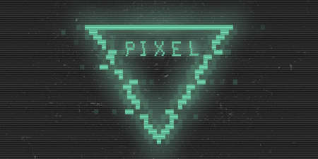 Triangle cyberpunk glitch pixel rhombus. Green glowing digital triangle. 8 bit shape. Background design for promo electronic music events, titles, web, banners. Vector illustration Illustration