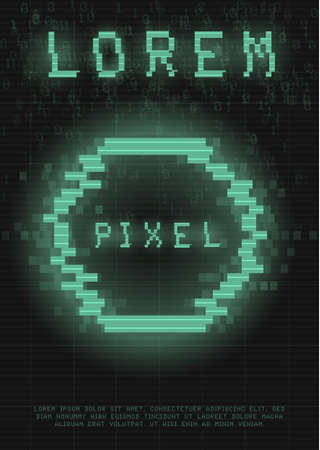 Retrofuturistic poster with a cyber glitch pixel circle. Cyberpunk template with a holographic green neon circle with distortion effect. Glowing design for poster, flyer, cover. Vector illustration Standard-Bild - 158399153
