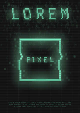 Retrofuturistic poster with a cyber glitch pixel rectangle. Cyberpunk template with a holographic green neon square with distortion effect. Glowing design for poster, flyer, cover. Vector illustration 일러스트