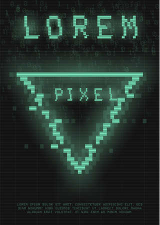 Retrofuturistic poster with a cyber glitch pixel triangle. Cyberpunk template with a holographic green neon triangle with distortion effect. Glowing design for poster, flyer, cover. Vector illustration