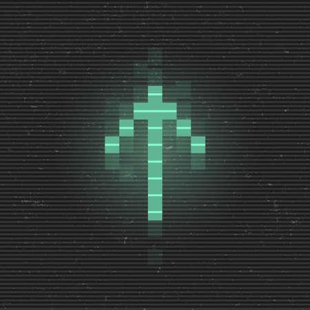 Retrofuturistic glitch up arrow. Green glowing digital pointer. 8 bit pixel arrow. Cyberpunk glowing design element for poster, flyer, cover, banner, web, games. Vector illustration 일러스트