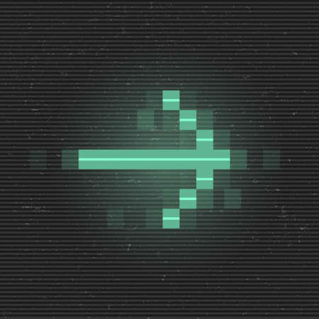 Retrofuturistic glitch right arrow. Green glowing digital pointer. 8 bit pixel arrow. Cyberpunk glowing design element for poster, flyer, cover, banner, web, games. Vector illustration Standard-Bild - 158656331