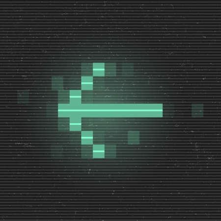 Retrofuturistic glitch left arrow. Green glowing digital pointer. 8 bit pixel arrow. Cyberpunk glowing design element for poster, flyer, cover, banner, web, games. Vector illustration Standard-Bild - 158704741