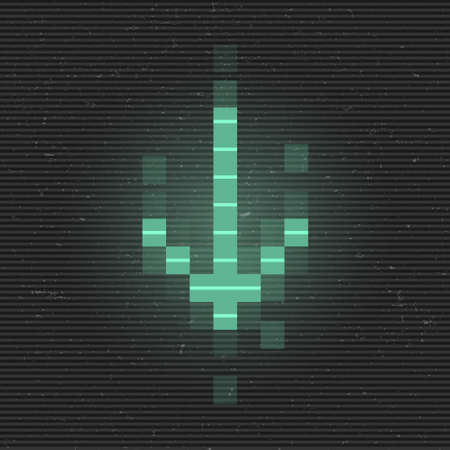Retrofuturistic glitch arrow to down. Green glowing digital pointer. 8 bit pixel arrow. Cyberpunk glowing design element for poster, flyer, cover, banner, web, games. Vector illustration 일러스트
