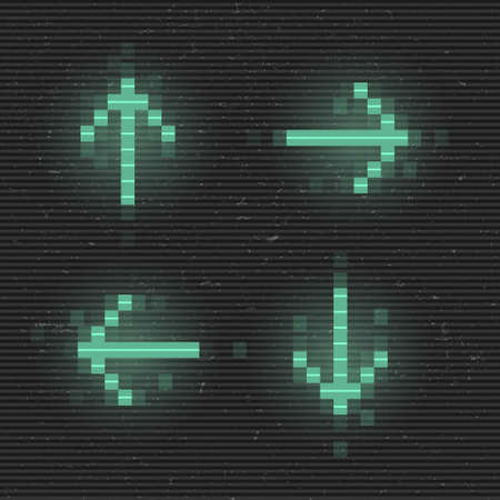 Retrofuturistic set of glitch arrows. Green glowing digital pointers. 8 bit pixel arrows. Cyberpunk glowing design elements for poster, flyer, cover, banner, web, games. Vector illustration