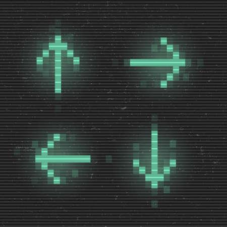Retrofuturistic set of glitch arrows. Green glowing digital pointers. 8 bit pixel arrows. Cyberpunk glowing design elements for poster, flyer, cover, banner, web, games. Vector illustration Standard-Bild - 158936518
