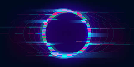 Glitch circle. Distorted glowing circle cyberpunk style. Futuristic round shape with TV interference effect. Design for promo music events, games, web, banners, backgrounds. Vector illustration Standard-Bild - 159607207