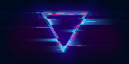 Glitch triangle. Distorted glowing triangle cyberpunk style. Futuristic geometry shape with TV interference effect. Design for promo music events, games, web, banners, backgrounds. Vector illustration Standard-Bild - 159708812