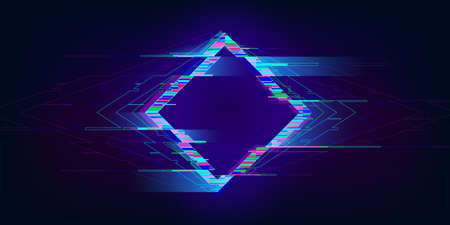 Glitch rhombus. Distorted glowing rhombus cyberpunk style. Futuristic geometry shape with TV interference effect. Design for promo music events, games, web, banners, backgrounds. Vector illustration Standard-Bild - 160082626