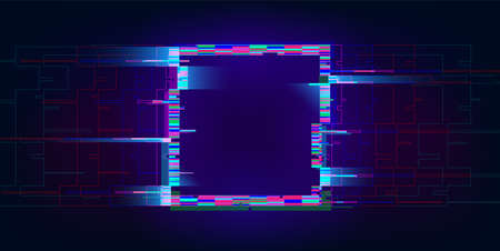 Glitch rectangle. Distorted glowing rectangle cyberpunk style. Futuristic geometry shape with TV interference effect. Design for promo music events, games, web, banners, backgrounds. Vector illustration Ilustração