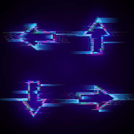 Set of futuristic cyberpunk glitch arrows. Modern glowing pointers with distortion effect. Good for design promo electronic music events, game titles, banners, web. Vector illustration