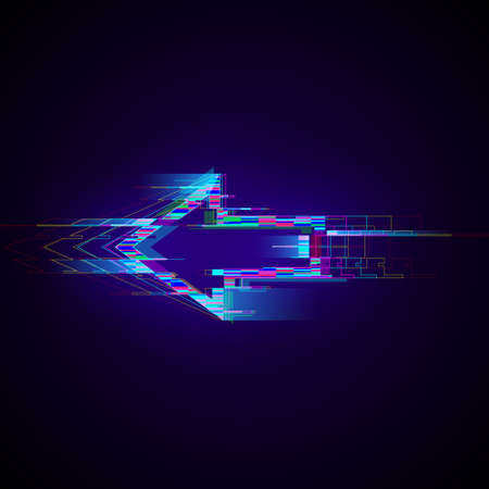 Futuristic cyberpunk glitch left arrow. Modern glowing pointer with distortion effect. Good for design promo electronic music events, game titles, banners, web. Vector illustration