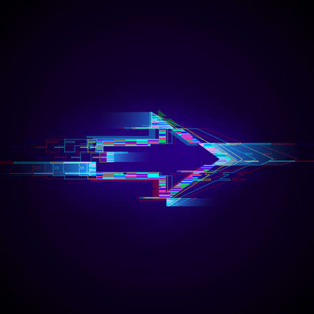 Futuristic cyberpunk glitch right arrow. Modern glowing pointer with distortion effect. Good for design promo electronic music events, game titles, banners, web. Vector illustration