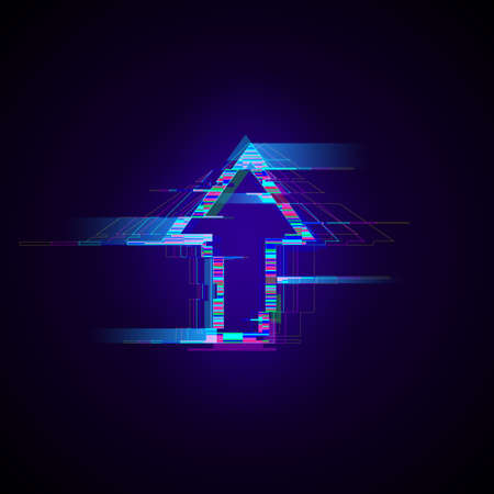 Futuristic cyberpunk glitch up arrow. Modern glowing pointer with distortion effect. Good for design promo electronic music events, game titles, banners, web. Vector illustration 일러스트