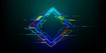 Futuristic glitch rhombus in cyberpunk style. Modern glowing geometry shape with distortion effect. Good for design promo electronic music events, games, banners, web. Vector illustration