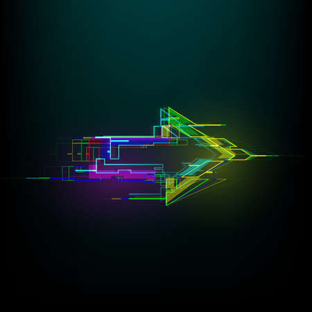 Futuristic glitch right arrow in cyberpunk style. Modern glowing direction pointer with distortion effect.