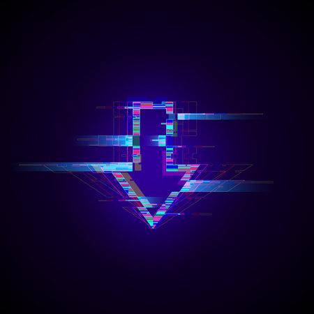 Futuristic cyberpunk glitch down arrow. Modern glowing pointer with distortion effect.