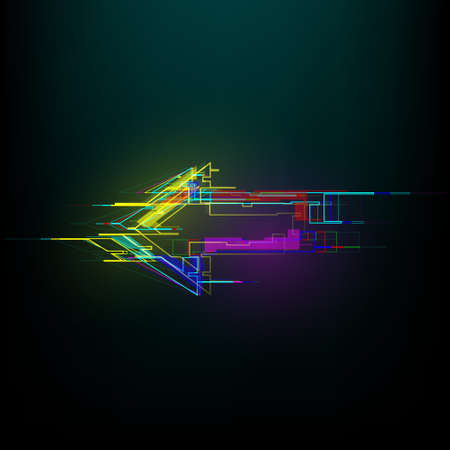 Futuristic glitch right arrow in cyberpunk style. Modern glowing direction pointer with distortion effect. Good for design promo electronic music events, games, banners, web. Vector illustration