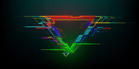 Futuristic glitch triangle in cyberpunk style. Modern glowing geometry shape with distortion effect. Good for design promo electronic music events, games, banners, web. Vector illustration