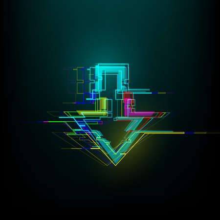 Futuristic glitch down arrow in cyberpunk style. Modern glowing direction pointer with distortion effect. Good for design promo electronic music events, games, banners, web. Vector illustration